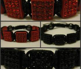 ALL SQUARE RANGE Jet Black or Cherry Red Crystal Square Pave Bead Macrame Friendship Bracelet