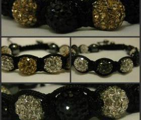 TWO-TONE RANGE Black, Grey, Silver and Gold Crystal Pave Bead Macrame Friendship Bracelet