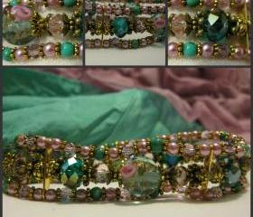 Sumptuous Genuine Turquoise, Teal and Soft Pink Crystal and Pearl Antique Gold Bracelet