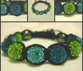 Peacock Blue, Vibrant Turquoise and Lime Green Crystal Pave Bead Macrame Friendship Bracelet