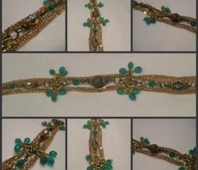 Delicate Gold Chain Teal and Champagne Crystal Bracelet