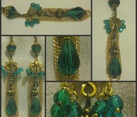 Delicate Gold Chain Teal and Champagne Crystal Earrings