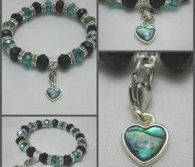 Black and Teal Crystal with Heart Abalone Shell Inlay Charm Stretch Bracelet