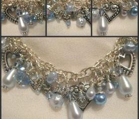 Sumptuous Powder Blue Pearl, Alexandrite, Crystal and Silver Charm Bracelet