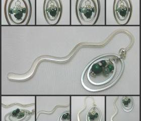 Gemstone Medium Size Book Mark with Genuine Malachite and Moss Agate Detail