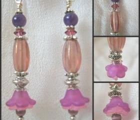 Amethyst and Tiger Eyes Lucite Blossom Earrings