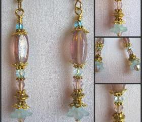 Aqua and Lilac Crystal and Lucite Flower Earrings