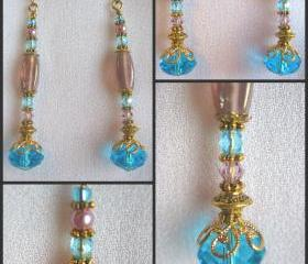 Aqua and Lilac Crystal Earrings