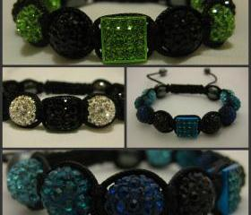 CENTRAL SQUARE RANGE Black White, Lime Black and Ombre Blues Crystal Pave Bead Macrame Friendship Bracelet with Central Square Pave Bead