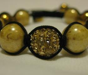 Champagne Crystal Pave Bead and Gold Haematite and Marbled Gold Pearl Macrame Friendship Bracelet in Design Worn by Emily Maynard
