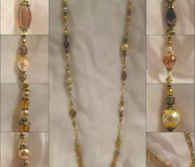 Antique Gold Crystal and Pearl Multi Chain Necklace