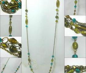 Beautiful Antique Brass Necklace Made with Random Moss Green and Vibrant Turquoise Glass Beads