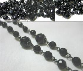 SALE Art Deco Style Long Black Beaded Necklace with Gun Metal Finish