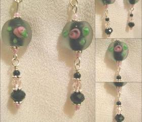 Black and Rose Crystal Earrings