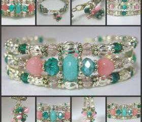 Delicate Pink and Teal Genuine Amazonite and Agate Silver Cuff Bracelet