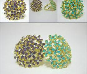 Enamel and Rhinestone Large Allium Flower Gold Rings in a Range of Colours