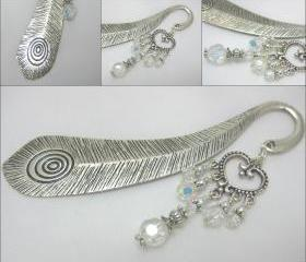 Large Peacock Feather Effect Book Mark with Sparkling Clear Crystal Chandelier Detail