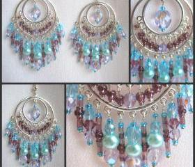 Aqua and Mauve Crystal Bollywood Style Chandelier Earrings