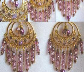 Mulberry and Bronze Crystal Antique Gold Bollywood Style Chandelier Earrings
