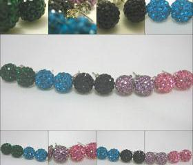 Crystal Pave Bead Earrings in Pink, Lilac, Black, Turquoise or Emerald