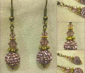 Soft Lilac Pave Bead Antique Gold Earrings