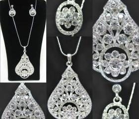 Beautiful Crystal Rhinestone Pendant and Earrings Silver Set