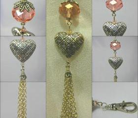 Peach Crystal and Tasselled Heart Handbag Charm