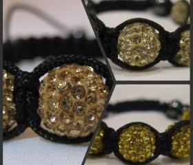 ONE COLOUR - GOLDS Champagne, Lemon or Yellow Gold Crystal Pave Bead Macrame Friendship Bracelet