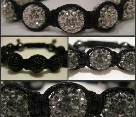 ONE COLOUR RANGE Grey, Jet Black or White Crystal Pave Bead Macrame Friendship Bracelet