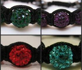 ONE COLOUR RANGE Emerald Green, Cherry Red. Purple and Turquoise Crystal Pave Bead Macrame Friendship Bracelets