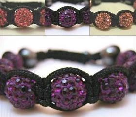 ONE COLOUR RANGE Bubble Gum Pink, Rose Pink or Dusky Purple Crystal Pave Bead Macrame Friendship Bracelet