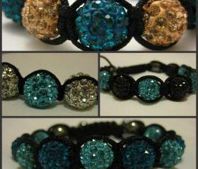 TWO-TONE RANGE Blues You Choose Colours Custom Crystal Pave Bead Macrame Friendship Bracelet