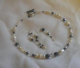 Haematite, Clear Crystal and Ivory Pearl Memory Wire Necklace and Earrings