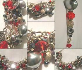 Sumptuous Ruby Red Crystal and Haematite Silver Charm Bracelet
