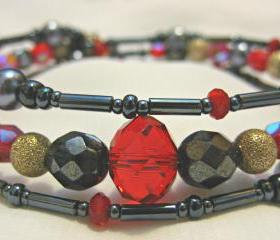 Haematite, Red Crystal and Grey Pearl Silver Bracelet